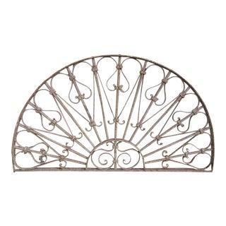 Antique Victorian Iron Demilune Garden Gate Window Element