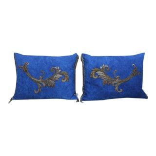 Metallic Appliqued Blue Linen Pillows - A Pair