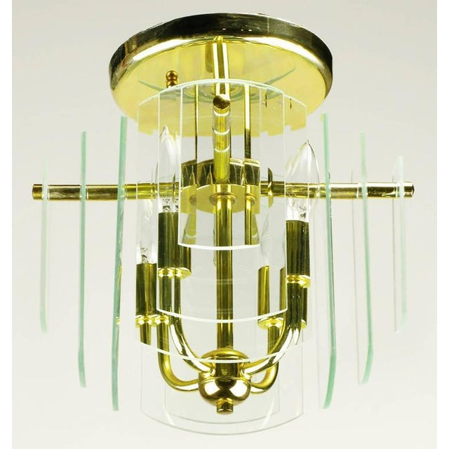 Pair Brass and Beveled Graduated Glass Ceiling Lights - Image 2 of 5
