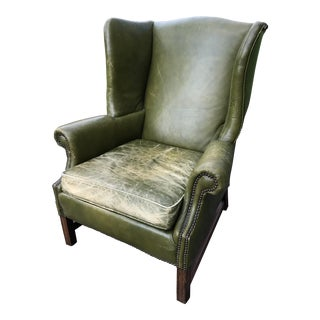 Green Leather Wingback Chair