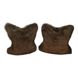 Faux Red Fox Pillows - A Pair