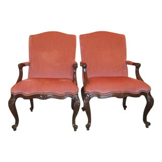 Vintage Carved Wood & Upholstered Accent Chairs - A Pair
