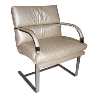 A Heavy Steel Brueton Chair in Leather