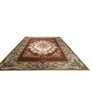 French Needlepoint Handmade Knotted Rug - 12′ × 18′