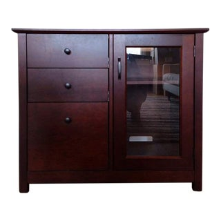 Crate & Barrel Contemporary Mahogany & Glass Side Cabinet