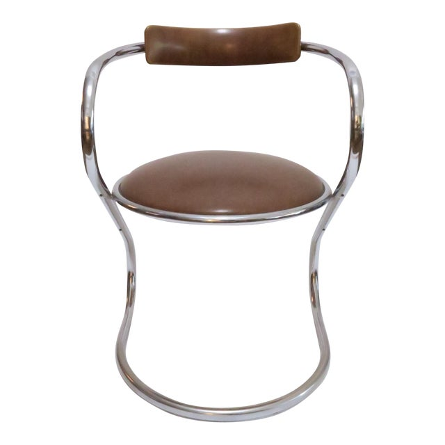 Chrome Deco Faux Leather Accent Chair - Image 1 of 7