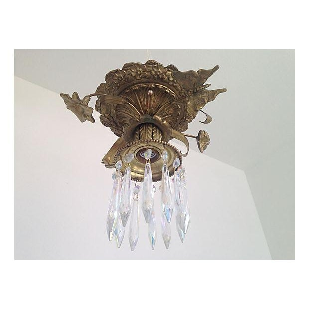 Image of 1930s Brass & Crystal Ceiling Light