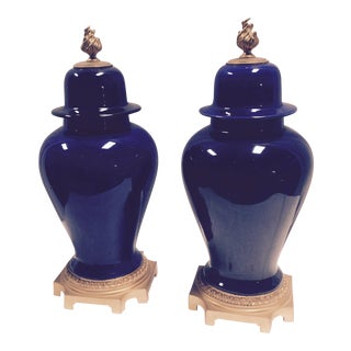 Bronze Mounted Sevres Cobalt Ceramic Urns - A Pair