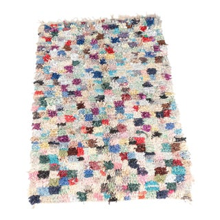 "Hand-Knotted, Multi-Colored Moroccan Boucherouite Rag Rug - 4'4"" X 6'5"""