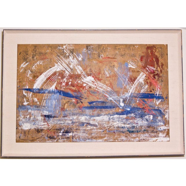 Red, White & Blue Abstract Oil Painting - Image 5 of 5