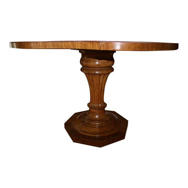 Inlaid Top Pedestal Dining Table - Image 1 of 6