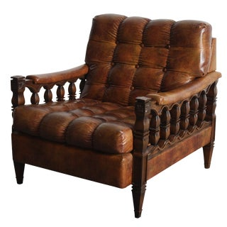 Spanish Revival Tortoiseshell Tufted Chair