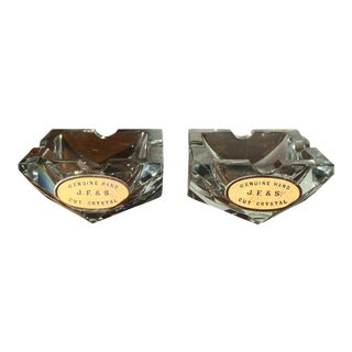 Vintage Crystal Ashtrays - Pair
