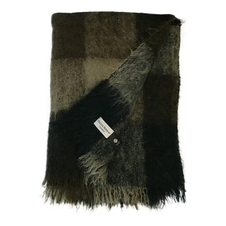 Green & Greige Fringed Mohair Throw Blanket