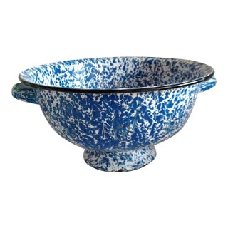 Large Enamel Blue Splattered Colander