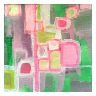 Pink & Green Abstract Painting by Linnea Heide