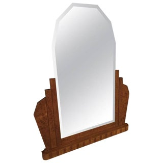 French Art Deco Burl Wood Wall or Standing Mirror