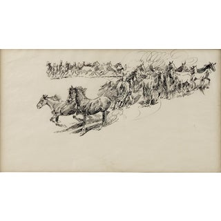 Wild Horses - Ink Drawing by Edward Borein (1872-1945)