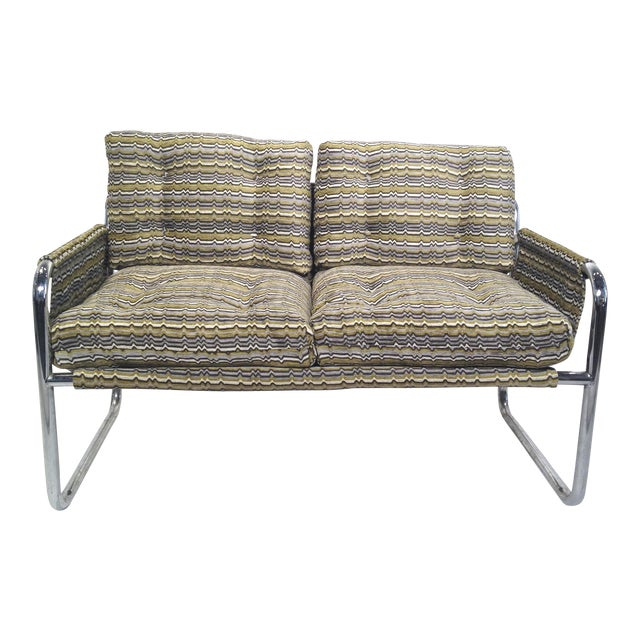Zermatt Tubular Chrome Sling-Back Settee - Image 1 of 6