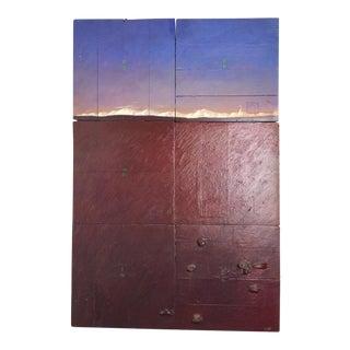 Contemporary Reclaimed Wood & Acrylic Paint Mixed Media Art Piece