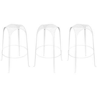 Set of Three Circular Perforated Indoor/Outdoor Bar Stools/ Style of Matégot