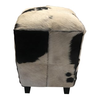 Black & White Cowhide Patchwork Foot Stool