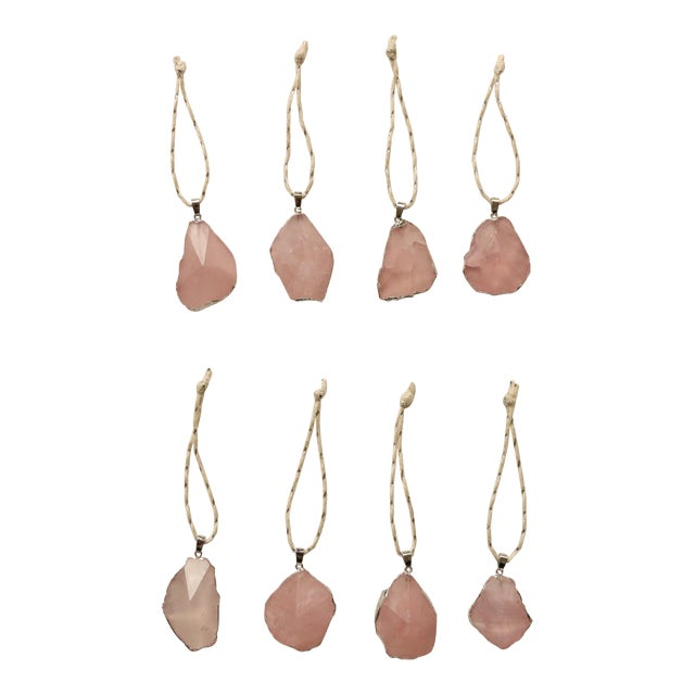 Silver Gilded Rose Quartz Christmas Ornaments - S/8 - Image 1 of 5