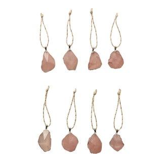 Silver Gilded Rose Quartz Christmas Ornaments - S/8