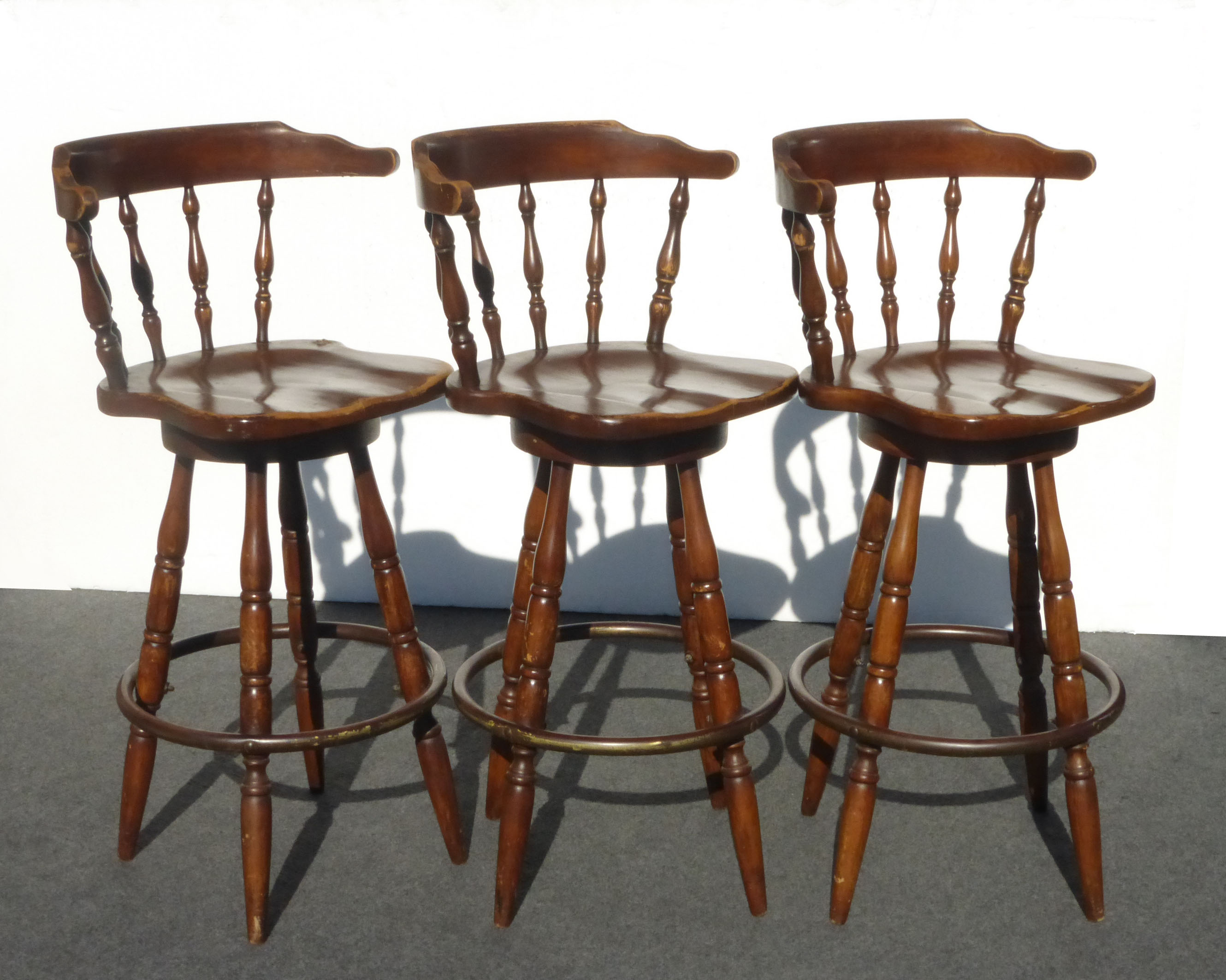 French Country Wood Swivel Bar Stools Set Of 3 Chairish