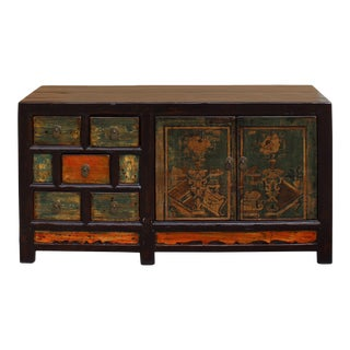 Chinese Distressed Orange Light Green Vase Flower Sideboard Table Cabinet