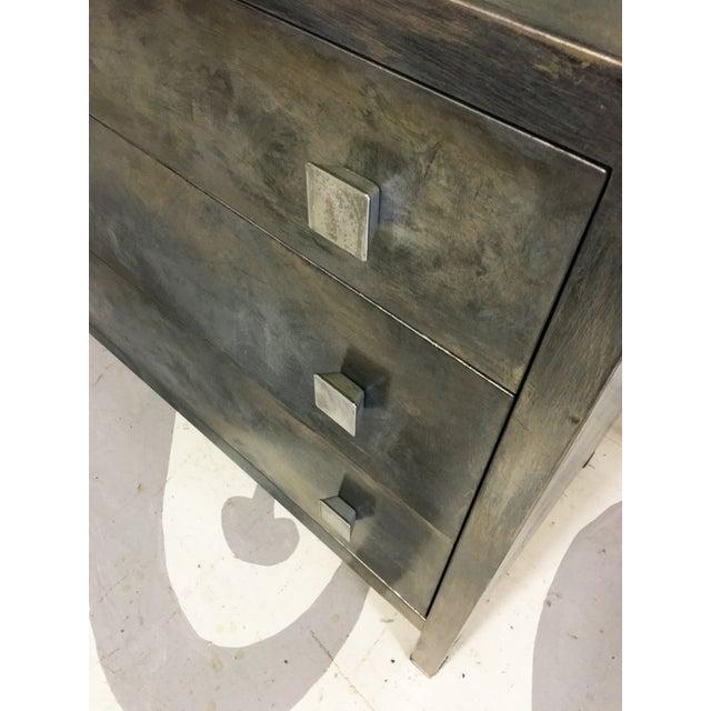 Image of Antique Art Deco Industrial Metal Dresser & Mirror