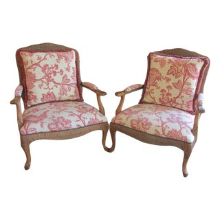 Kreiss Custom Upholstered Bergere Chairs - A Pair