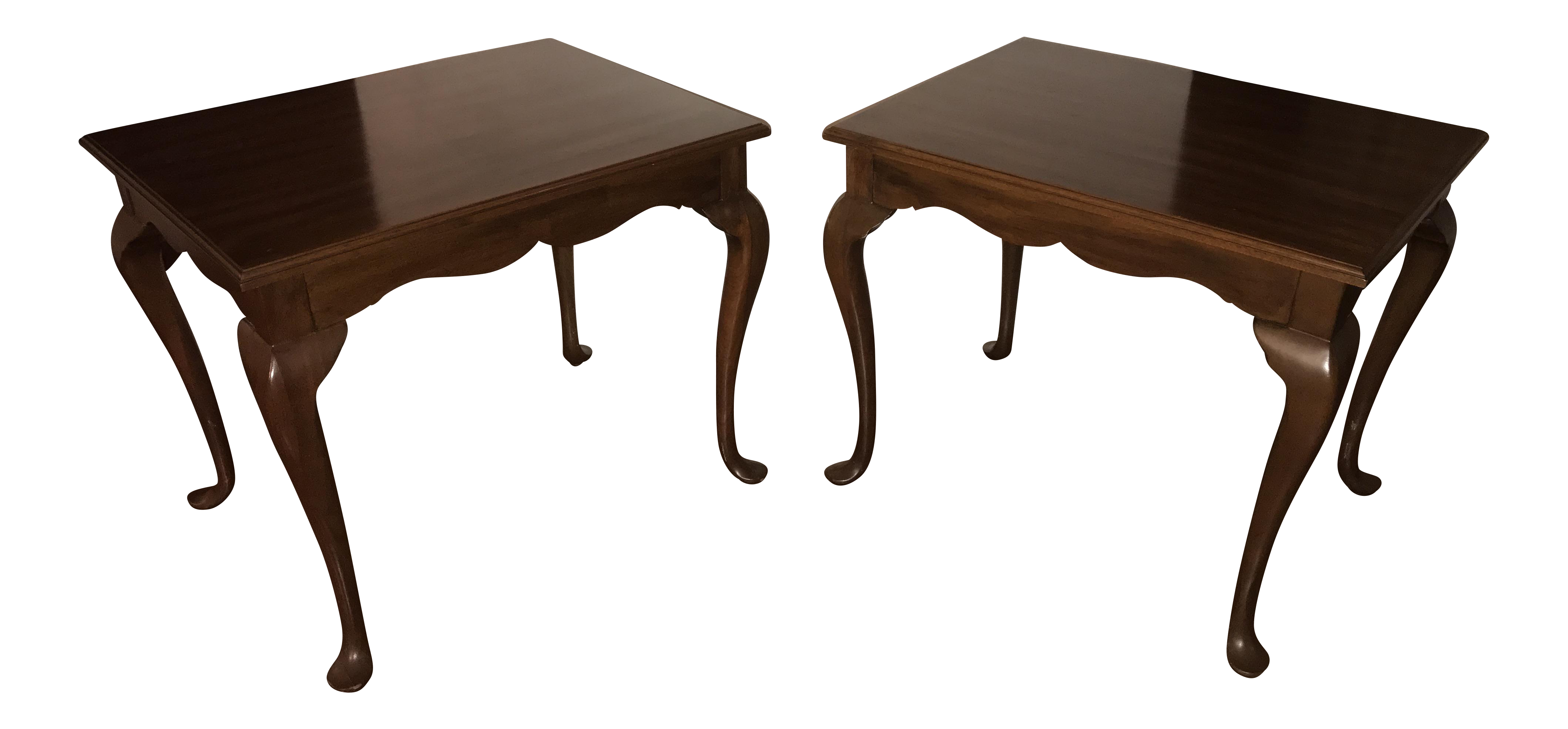 Queen Anne Cherry Wood Side Tables   A Pair