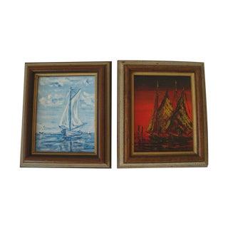 Nautical Sailboat Miniature Paintings - a Pair