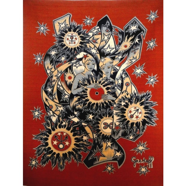 Elie Grekoff Vintage 1950s French Red Tapestry - Image 1 of 5