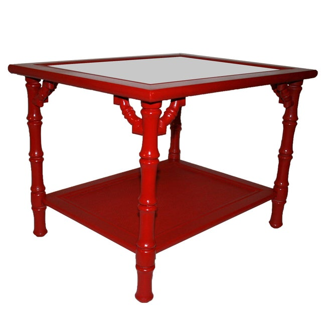 Mersman Faux Bamboo Red End Tables - A Pair - Image 5 of 7
