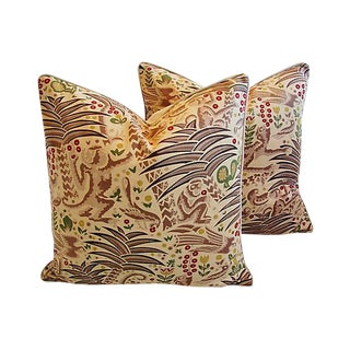 Custom Tailored Clarence House Gibbon Fabric Feather/Down Pillows - Pair