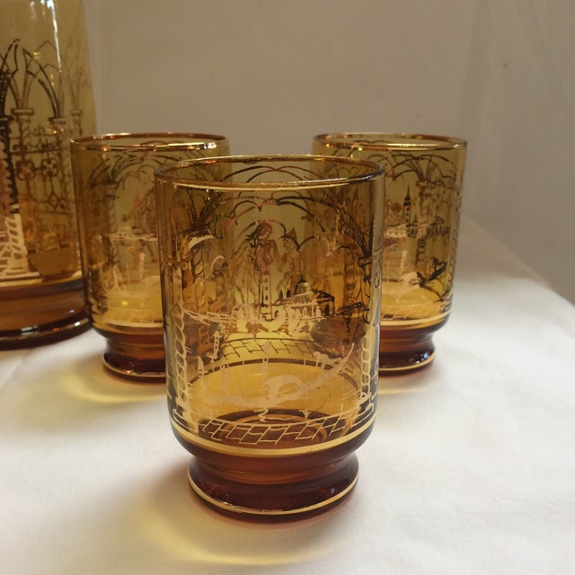 Italian Decanter and Matching Tall Glasses - S/7 - Image 6 of 9
