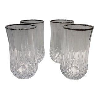 Vintage Leaded Crystal Silver Rim Water Glasses - Set of 4