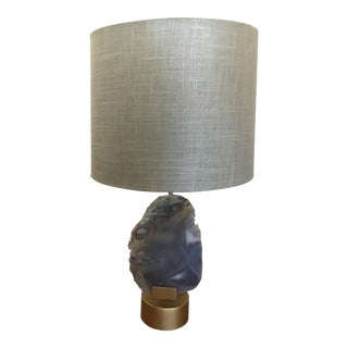 Antique Agate & Brass Table Lamp