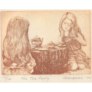 "Arline Langman Etching ""The Tea Party"" c.1974"
