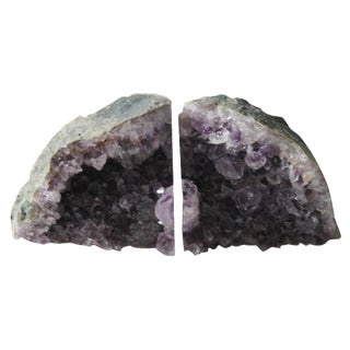 Amethyst Crystal Bookends - A Pair