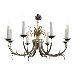 Stylish French Maison Charles Style Brass & Brushed Steel Eight-Light Chandelier