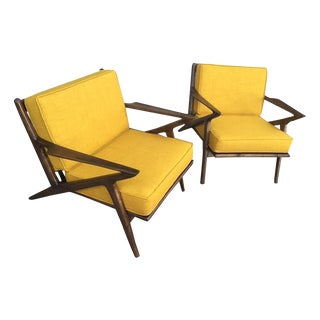 Mid Century Mustard Tweed Z Style Chairs - A Pair