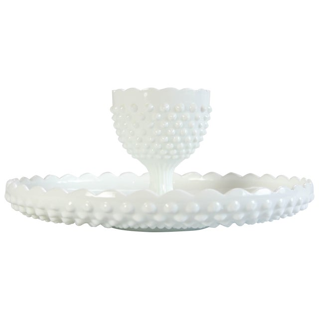 Fenton Hobnail Serving Dish and Cup - A Pair - Image 1 of 5