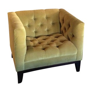 Tufted Green Designer Accent Chair