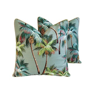Custom Tailored Tropical Swaying Palm Tree Feather/Down Pillows - Pair
