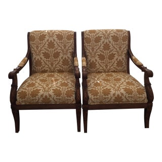 Carved Wood Arm Chairs - A Pair