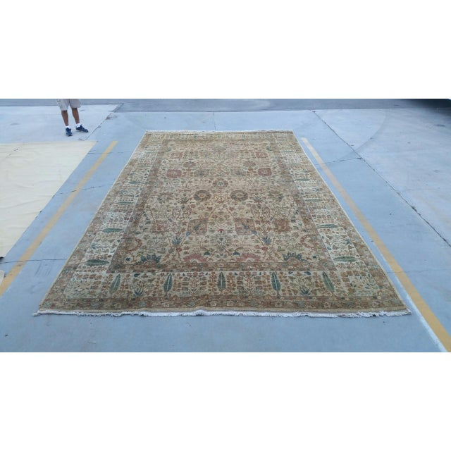 """Handknotted Rust & Teal Wool Area Rug- 10' x 17'8"""" - Image 2 of 8"""