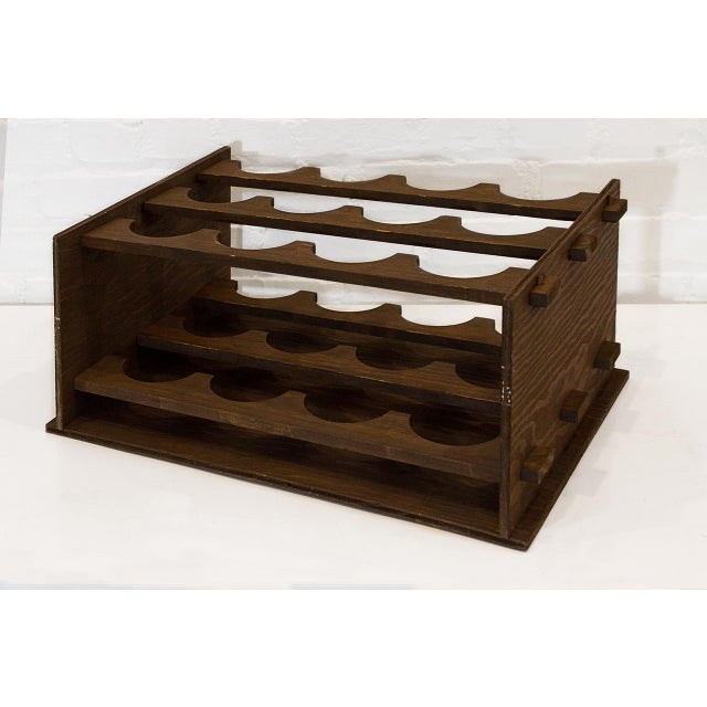 1975 arts crafts style wood wine rack chairish for Arts and crafts wine rack